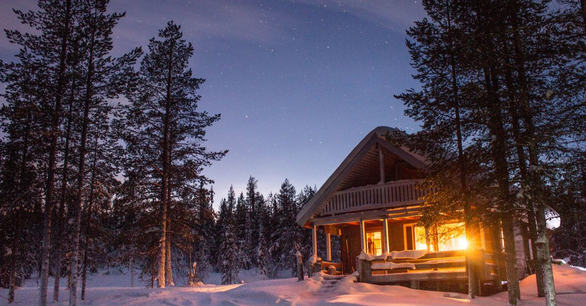 country cabin in the winter